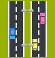 two way roadway top view vector image vector image