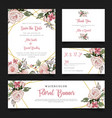 watercolor floral stationery cards set vector image