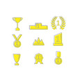 winner prizes and awards outline icons vector image vector image