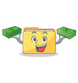 with money folder character cartoon style vector image