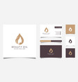 woman beauty oil logo design with woman face and vector image