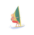 young man windsurfing in the sea marine sport vector image