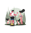 young family with children on picnic vector image