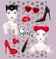 stickers set cartoon girls and accessories vector image