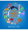 Marine Life with Sea Fish and Nautical Icons vector image