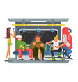 subway with people man and woman flat design vector image