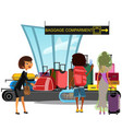 airport conveyor belt with passengers take luggage vector image vector image
