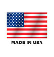 american flag made usa stylish design vector image