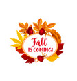 autumn berry for fall is coming poster vector image vector image