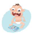 baby playing with a tablet computer vector image