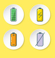 battery icon set in flat style on round button vector image vector image