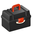 Black tool box with red handle vector image