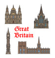 british travel landmark of architecture icon set vector image vector image