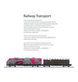 brochure locomotive with railway platform vector image vector image