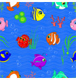 cartoon seamless pattern underwater world vector image