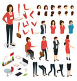 cartoon woman create character signs color icons vector image vector image