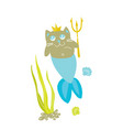 cat princess mermaid funny kitty vector image vector image