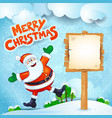 christmas background with santa wooden sign and vector image
