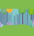 cityscape town urban nature trees grass sun vector image