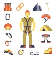 Climber gear equipment icons flat vector image vector image