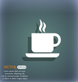 coffee icon symbol on the blue-green abstract vector image
