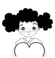 contour pretty girl with heart and casual wear vector image vector image