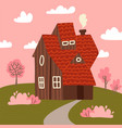 cozy fair weather spring landscape with small vector image vector image