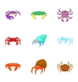 Crustaceans icons set cartoon style vector image vector image