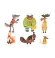 cute animals cartoon characters in various clothes vector image