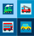 Cute Train Bus Car and Fire truck children vector image vector image