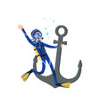 diver holding onto large old anchor underwater vector image vector image