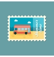 Double decker open top sightseeing city bus stamp vector image