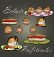 eclairs profiteroles and cakes on background vector image