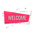 flat welcome sign hand drawn invitation card t vector image vector image