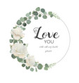 floral design card with white rose cute flower vector image