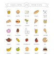 Food and drinks nutrition color icons set