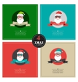 four xmas cards with hipster santa place for your vector image vector image