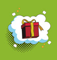 gift box in bubble pop art cartoon vector image