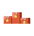 gold medals for prize-winning places on pedestal vector image vector image