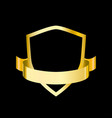 golden shield with ribbon for vector image vector image