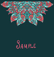half ethnic paisley ornament kaleidoscopic motif vector image