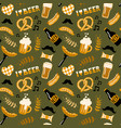 hand drawn doodle style beer and food seamless vector image vector image