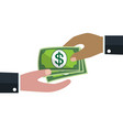 hand give and receive money bills donation vector image