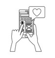 hands using smartphone with chat love vector image