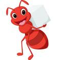 happy ant cartoon carrying sugar vector image vector image
