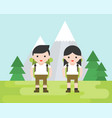 hiking concept cute hiker character with vector image