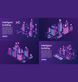intelligent building banner set isometric style vector image