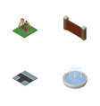 isometric urban set of park decoration barrier vector image vector image
