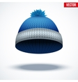 Knitted woolen cap Winter seasonal blue hat vector image vector image