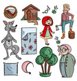 little red riding hood fairytale on white vector image